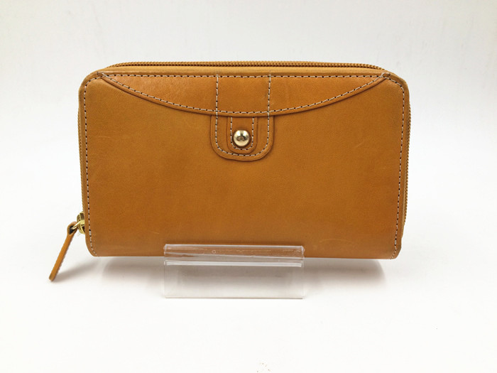 Long style yellow leather lady wallet
