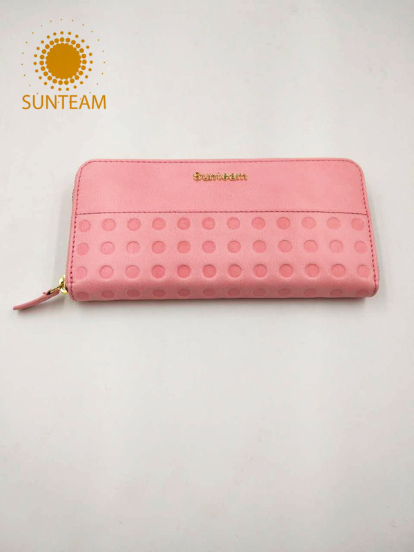 pink genuine leather wallet supplier