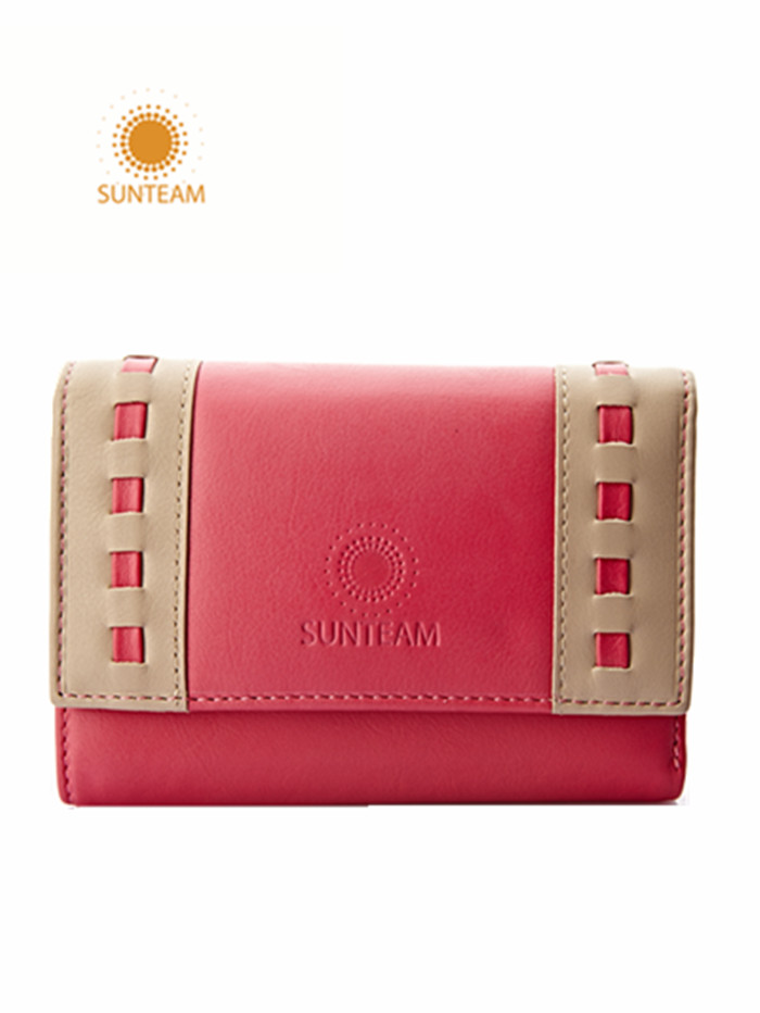 Top brand leather lady wallet factory