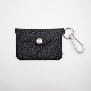 Black leather coin pouch-Dollaro leather coin purse-small slim coin pouch