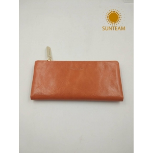 Fashionable RFID Woman's Genuine Leather Factory, Leather Pouch Manufacturer, Vegetable Tanned Genuine Leather