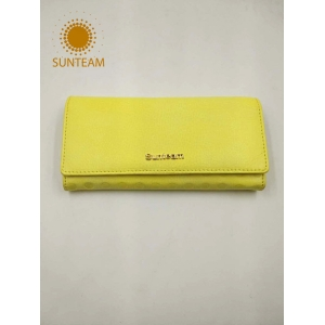 High quality geunine leather long wallet,famous genuine Leather wallet ,Oem women wallet supplier
