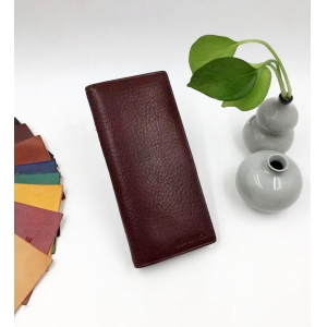 Italy leather long wallet-Slim leather wallet long -Long Italy leather purse