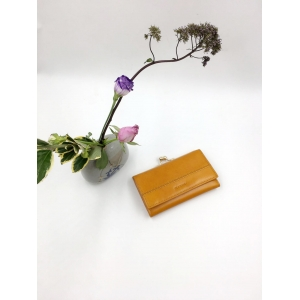 Orange leather wallet-Medium leather wallet-ladies wallet