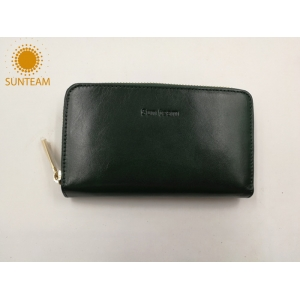 Simple design women long style zipper wallet supplier; Bangladesh geniune leather women wallet manufacturer; Chinese high quality leather women exporter