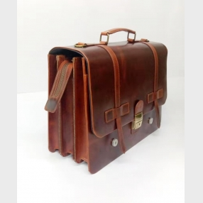 China Genuine Leather Briefcase wholesale luxury top grain Leather classic Briefcase for Man factory