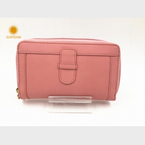 China Medium size pink leather wallet wholesalere-new design leather wallet manufacturer-OEM ODM woman leather wallet factory
